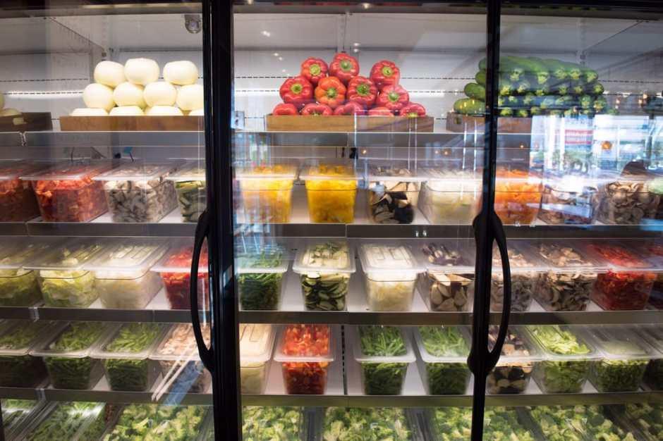 Veggies in bins, fridge organization